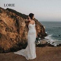 LORIE Sexy Lace Mermaid Wedding Dresses 2018 Robe de soiree Beach Wedding Dress Spaghetti Straps Bridal Dress Sweep Train