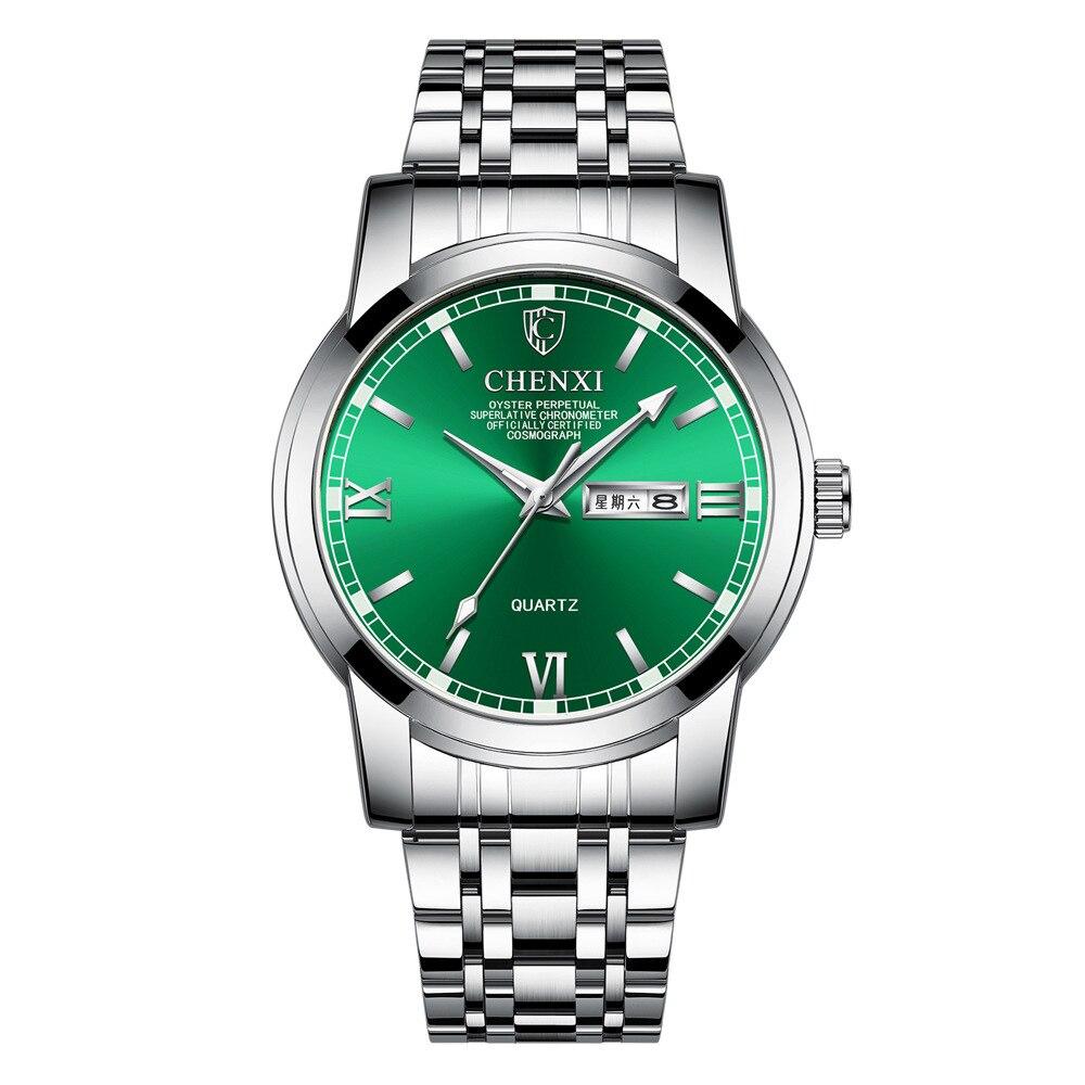 New Men's Steel Watchband Waterproof Round Dial Plate Calendar Chinese Weekly Quartz Watch