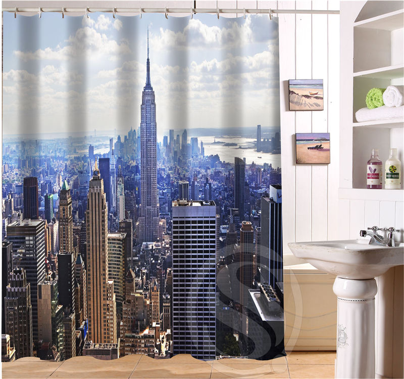New York City Personalized Custom Shower Curtain Bath Waterproof MORE SIZE FREE SHIPPING SQ0423 LQNh2 In Curtains From Home Garden On