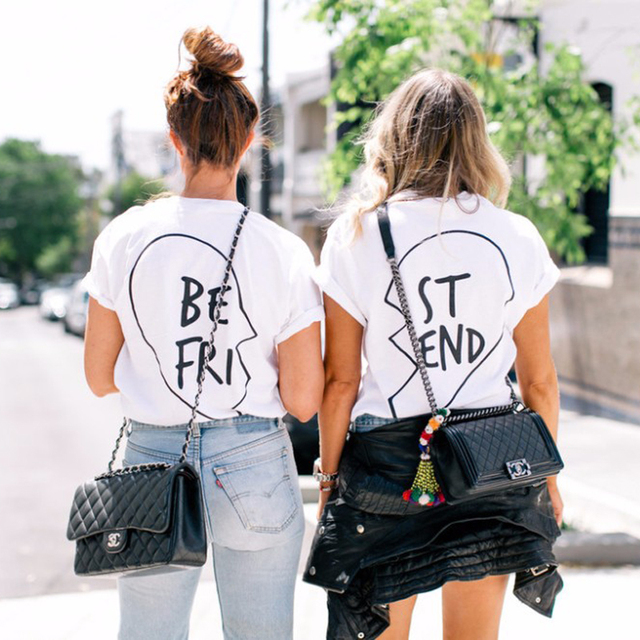 467c1985 Best Friends T Shirt Women New Summer Vegan Harajuku Kawaii Funny Sexy BTS  Kpop White Printed Vintage Tops Plus Size Clothing