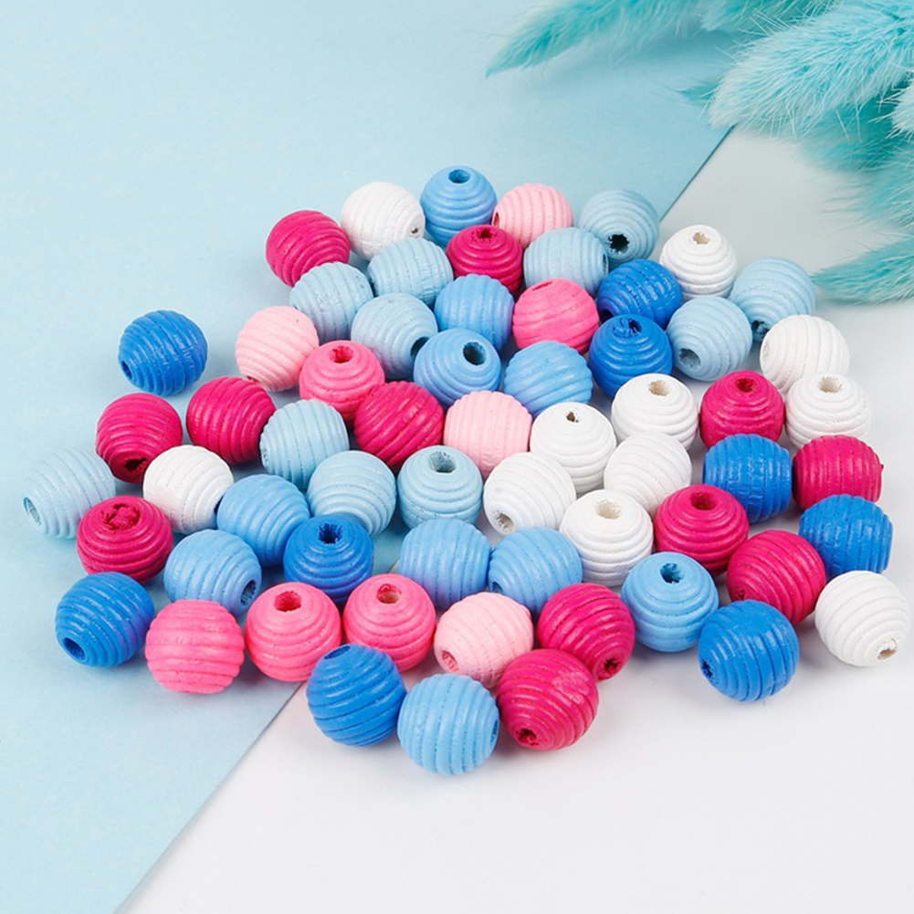 50Pcs 14mm Wooden Thread Beehive Spacer Loose Beads DIY Jewelry Craft Accessory DIY Jewelry Making Necklace Bracelet Earrings