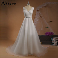Vintage Lace And Chiffon A Line Wedding Dresses 2016 Elegant V Neck Beads Bodice Silk Sash
