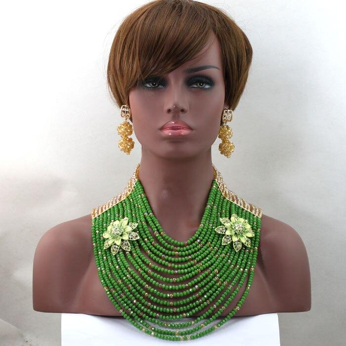 Luxury 15 Layers Solid Green Nigerian Wedding African Beads Jewelry Set Dubai Gold Full Beads Bridal Jewlery Free Shipping WD155