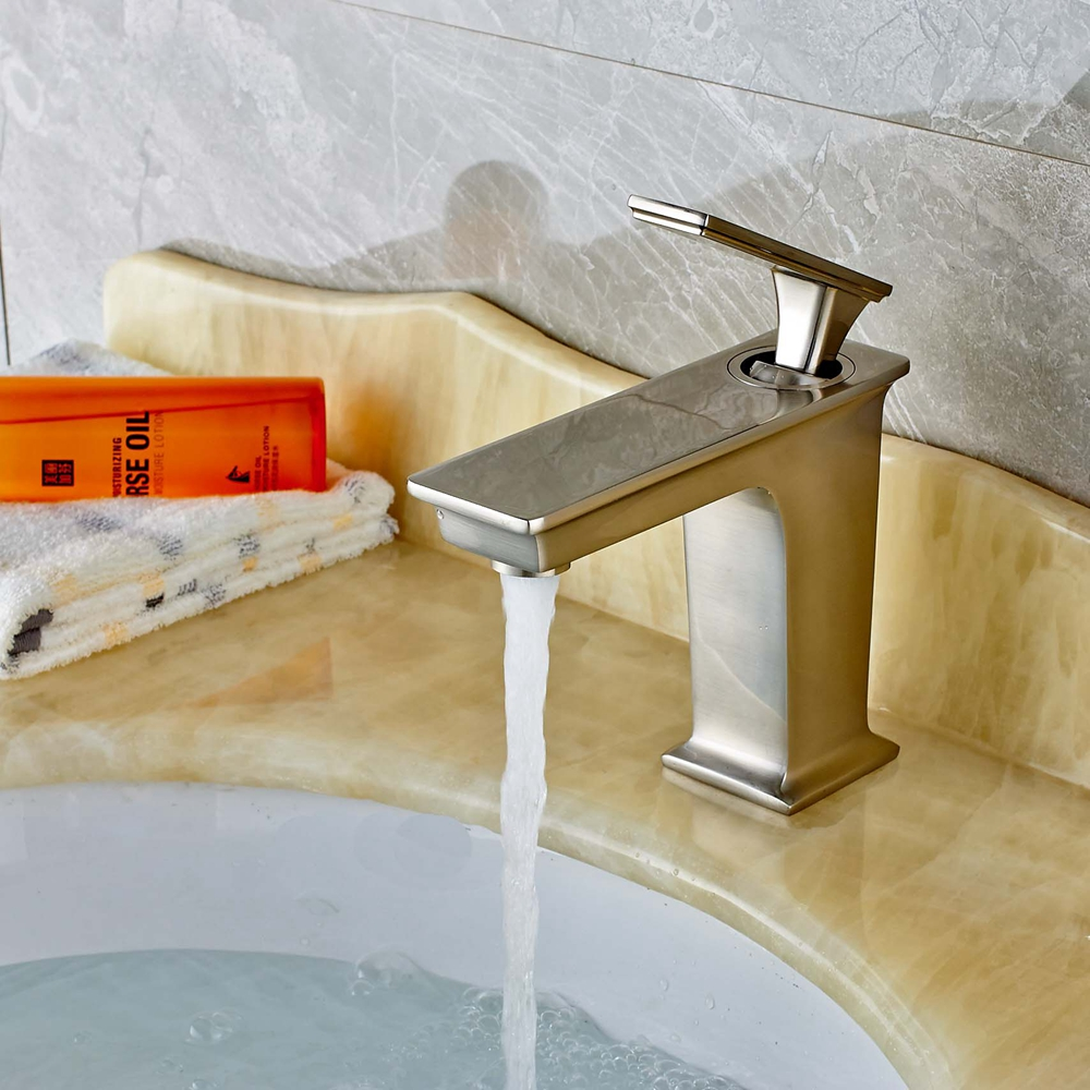 ФОТО Brushed Nickel Waterfall Brass Bathroom Basin Faucet One Handle Sink Mixer Tap