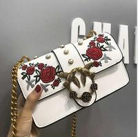 PU Embroidery Handbags Small Pearl Flap Bag Metal Locked Lady Messenger Bag