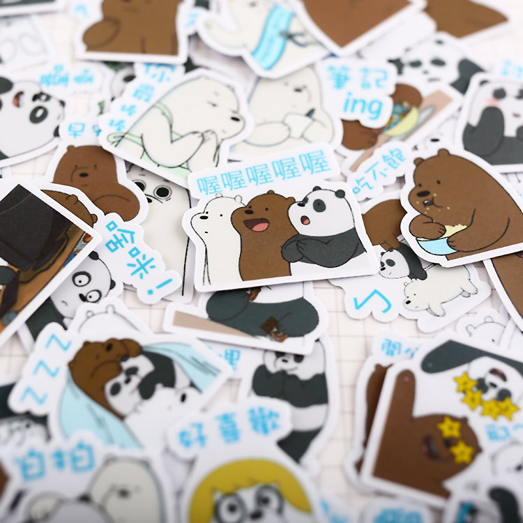 40pcs Cute Naked Bear Hand Drawing Stickers Crafts And Scrapbooking Decorative  Paper Waterproof Sticker Lovely DIY Stationery