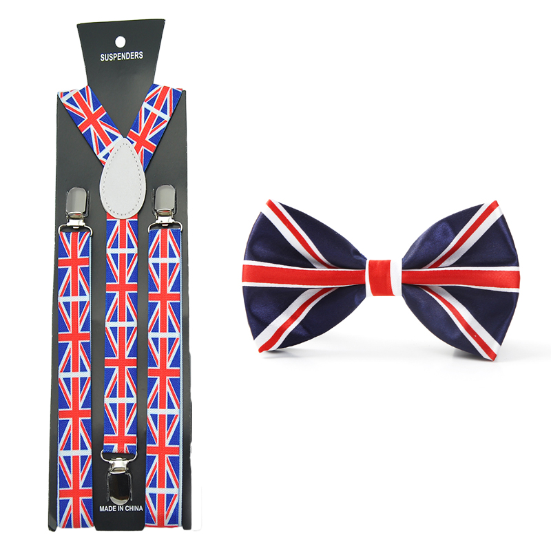 2017 New Women Men Unisex 17 Colors Mix Suspender And Bowtie Set Y-Shape British Flag Sets Office Casual Bowtie Set Hot Sale