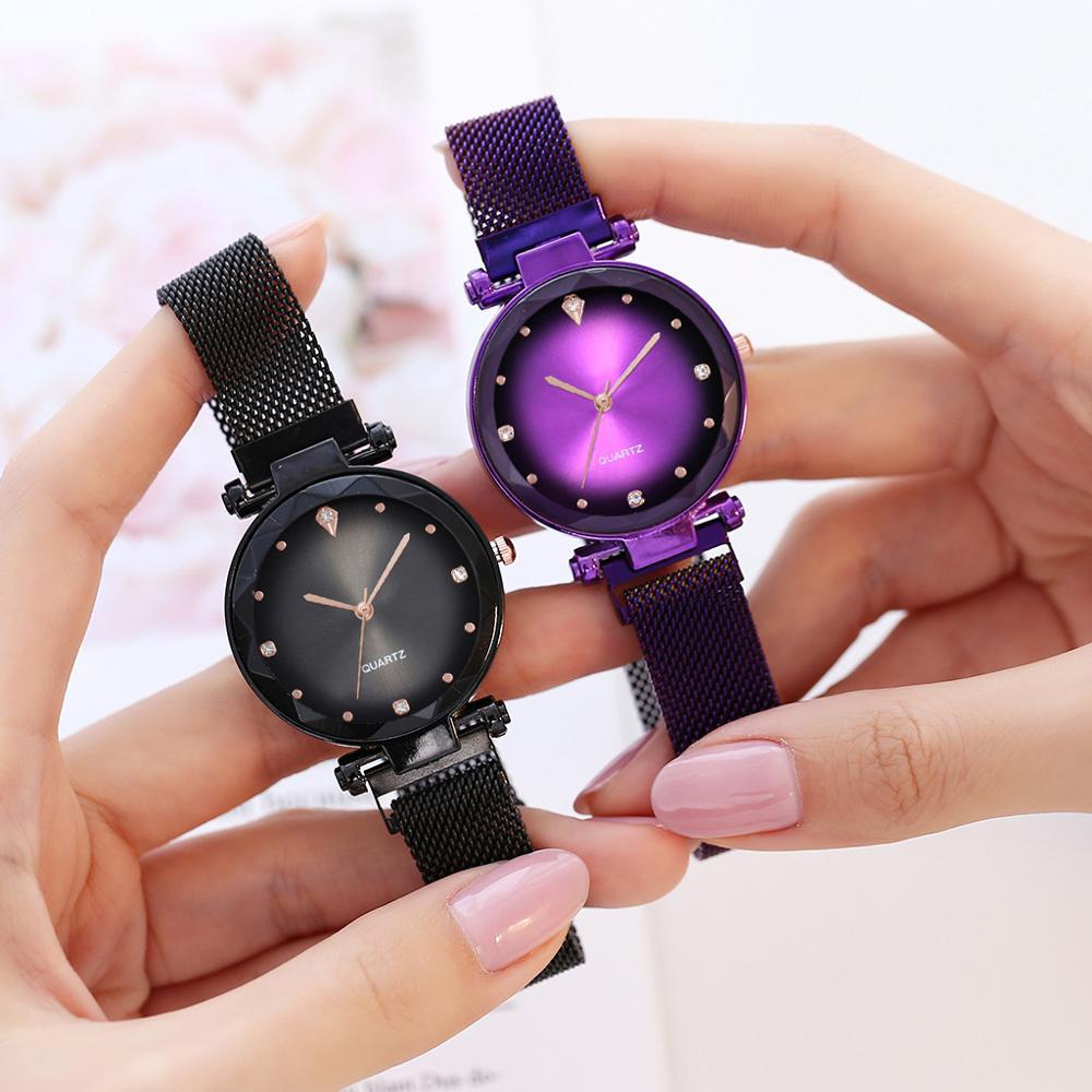 Women Magnet Watch Purple Starry Sky Watch Luxury Diamond Ladies Dress Wristwatches For Women Quartz Clock relogio feminino 2019 in Women 39 s Watches from Watches