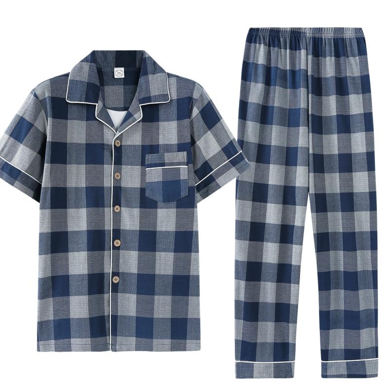 Summer Pajamas 100%Cotton Men's Pajama Sets Turn-down Collar Cardigan Soft Plus Size L-3XL Male Pyjamas Short Shirts+Long Pants
