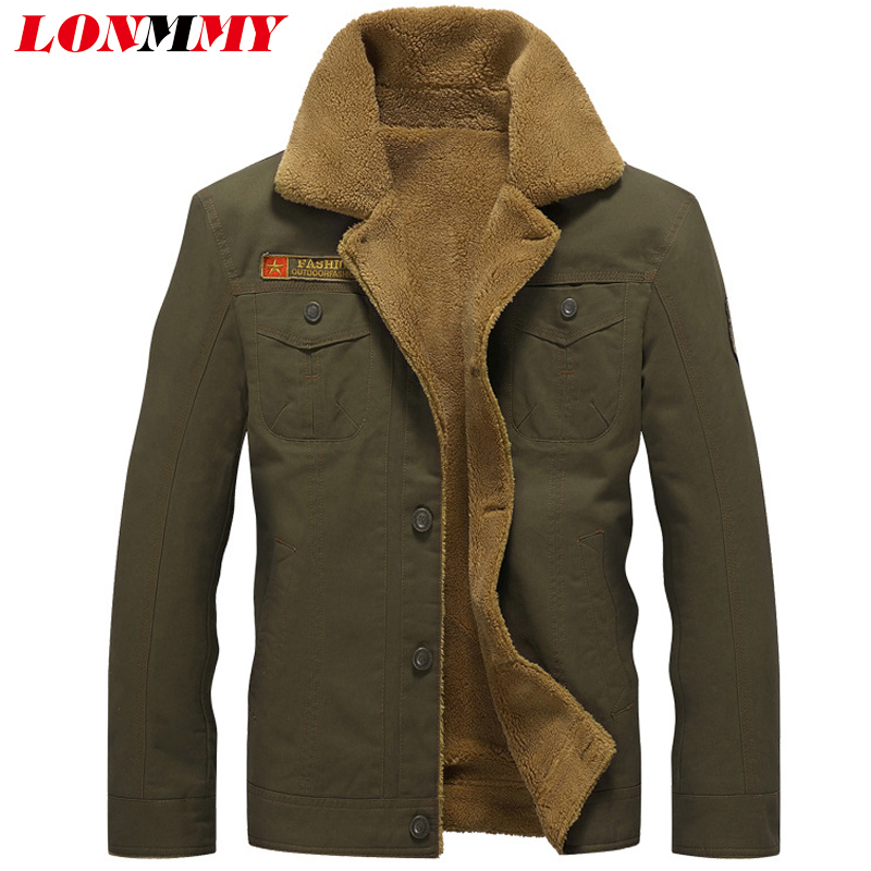 LONMMY M-5XL Military jacket men coat Army Velvet thickening Cotton air force 1 Bomber jacket men coat 2018 Winter jacket men winter coat men s youth thickening long men s cotton cotton sweater men s tide winter coat jacket