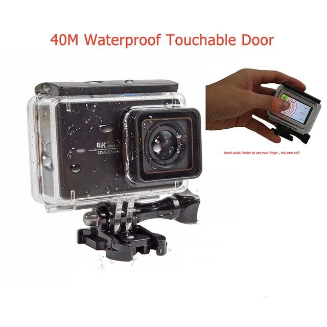 Para xiaomi yi 4 k accesorios tangible de buceo impermeable caso de viviendas con tocar puerta trasera para xiaomi yi 2 4 k cámara de acción