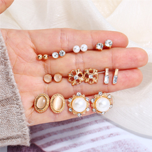 Bohopan 9Pairs/Set Exquisite Pearl Earrings For Women Shine Rhinestone High Quality Fashion Simple Stud Sets