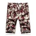 2016 Мужчины Колен Летние Пляжные Шорты мужская Повседневная Мода Slim Fit Большой Размер Печати Цветок Пляж Шорты Верхней Одежды Hombre