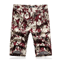 2016 Men Knee Length Summer Beach Shorts Men's Casual Fashion Slim Fit Large Size Printing Flower Beach Shorts Outwear Hombre