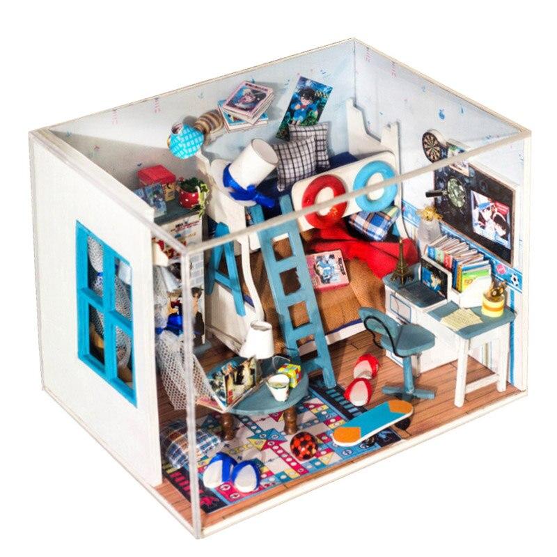 DIY Puppenhaus Miniatur Modell Mit 3D Holz Möbel Detektiv Conan Puppenhaus  Kreativen Spielzeug Geschenk Für Kinder Q004 # E