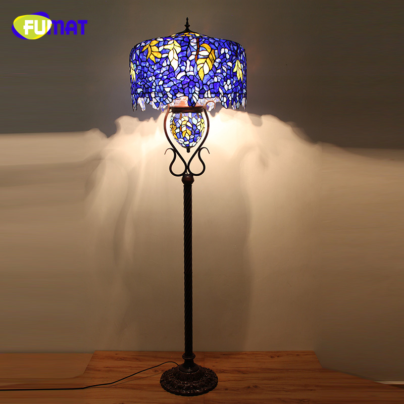 FUMAT European Style Quality Stained Glass Floor Lights Living Room Hotel Office Stand Wisteria Glass shade LED Floor Lamps fumat stained glass pendant lamp antique style baroque glass body flower shade restaurant suspension lampe hotel project lights