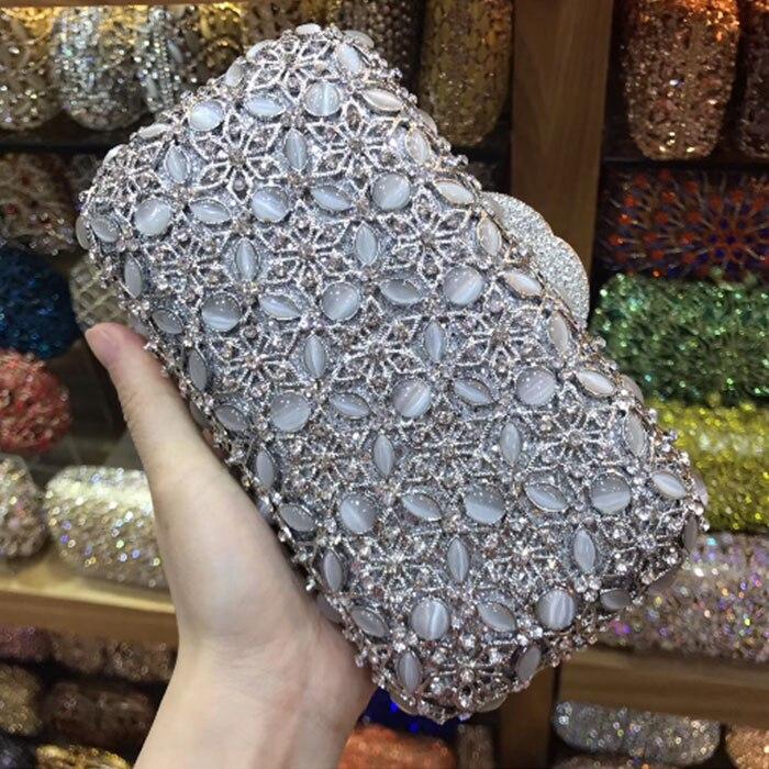 все цены на Silver Crystal Women golden Evening Purse Metal Minaudiere Handbag Bridal Clutch wallets Wedding Party Diamond shoulder Bag