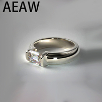 AEAW 1.00 ct Emerald Cut Near White Moissanite 925 Sterling Silver Solitaire Ring