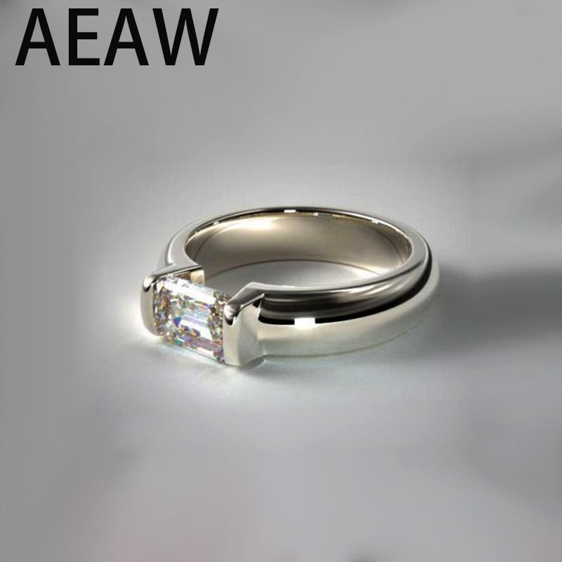 AEAW 2.00 ct Emerald Cut Near White Moissanite 925 Sterling Silver Solitaire RingAEAW 2.00 ct Emerald Cut Near White Moissanite 925 Sterling Silver Solitaire Ring