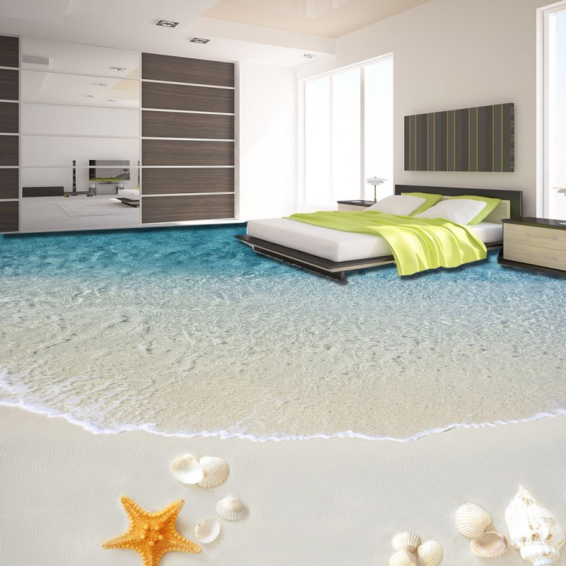 Free Shipping Seaside shell starfish beach 3D flooring wallpaper self-adhesive waterproof wear floor mural