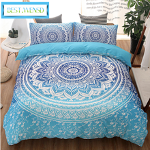 BEST.WENSD Cilected Bohemia Style Black White Printing Duvet cover set +pillowcases Bedding Sets king Queen Mandala Bedspreads(China)