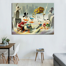 Scrooge McDuck Duck with Huey, Louie And Dewey Art Canvas Poster Painting Oil Wall Cartoon Picture Print Home Bedroom Decoration