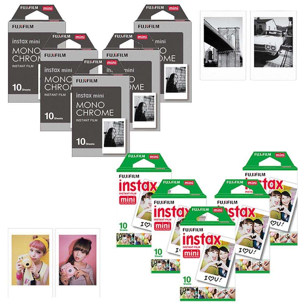 Original Fuji Fujifilm Instax Mini 8 Film blanc + Films monochromes papier Photo pour appareil Photo instantané Mini 8 9 25 70 25 90 SP-1 SP-2
