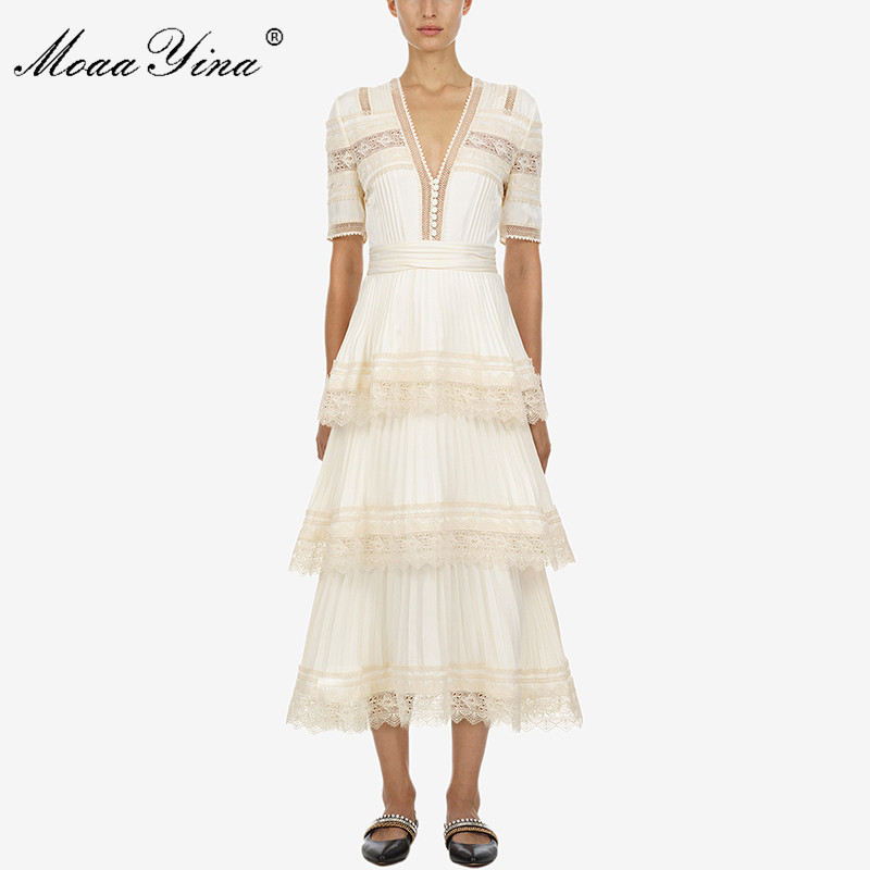 MoaaYina Short sleeve Cascading Ruffle Spring Summer New arrive long dress deep V lace women party dress high quality in Dresses from Women 39 s Clothing