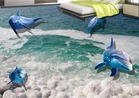 3d floor wallpaper Custom Dolphin vinyl wallpaper for Living room bedroom bathroom walls 3d floor tiles pvc wallpaper