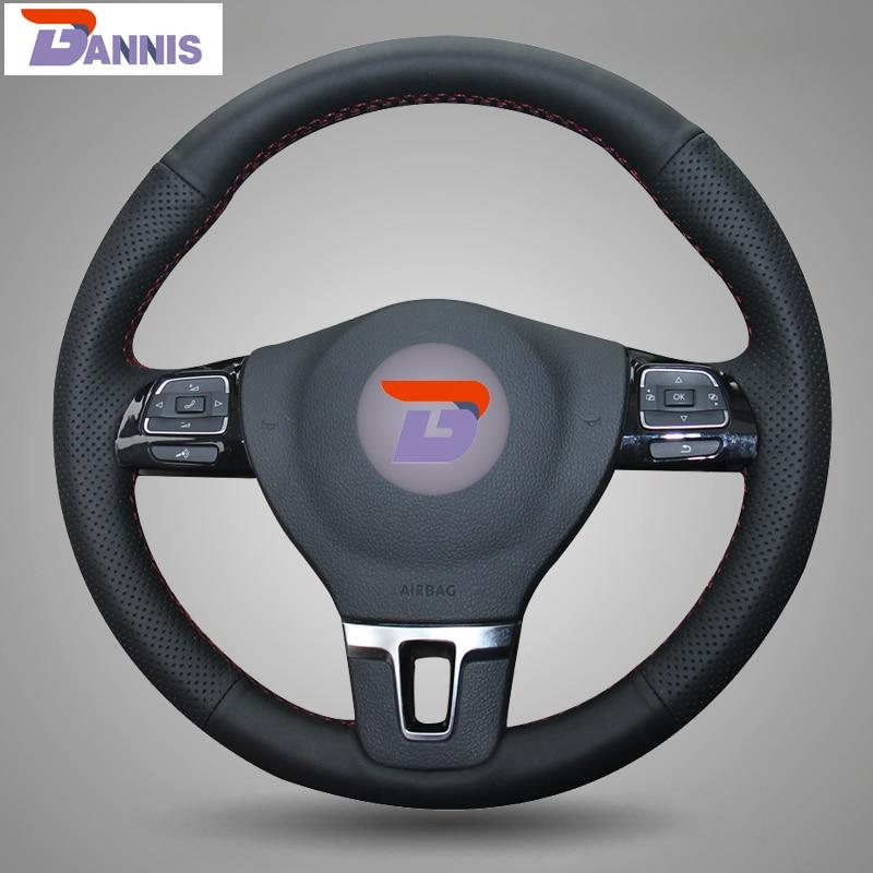 BANNIS Black Leather DIY Hand stitched Steering Wheel Cover for Volkswagen VW Gol Tiguan Passat B7
