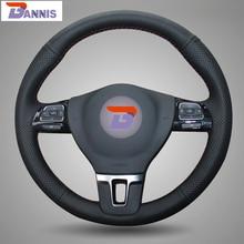 BANNIS Black Leather DIY Hand-stitched Steering Wheel Cover for Volkswagen VW Gol Tiguan Passat B7 CC Touran Magotan Sagitar