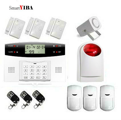 SmartYIBA Wireless GSM Alarm System+3pcs Remote Controller+3pcs PIR Motion Sensor+3pcs Door Sensor+Strobe Siren+Horn Alarm Kits etiger chuango g5 315mhz gsm sms home alarm system with smart outdoor strobe siren 3pcs pet immune pir motion sensor