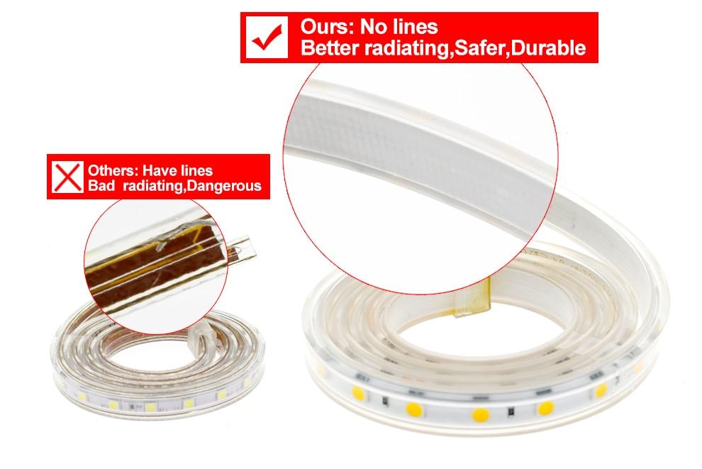 HTB18BTlPVzqK1RjSZFoq6zfcXXa7 220V LED Strip 2835 High Safety High Brightness 120LEDs/m Flexible LED Light Outdoor Waterproof LED Strip Light.