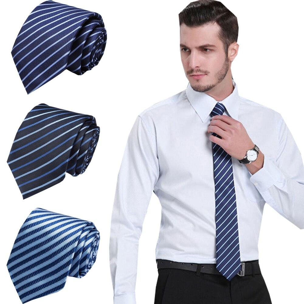 Men Classic Silk Tie Striped Neck Ties 7.5cm Navy  Blue Ties For Men Formal Wear Business Suit Wedding Party Gravatas