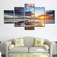 Modern Seascape Canvas Printing Natural Scenery Wall Art Decorative Picture Mountain Poster Sunrise Sea Landscape Print Painting