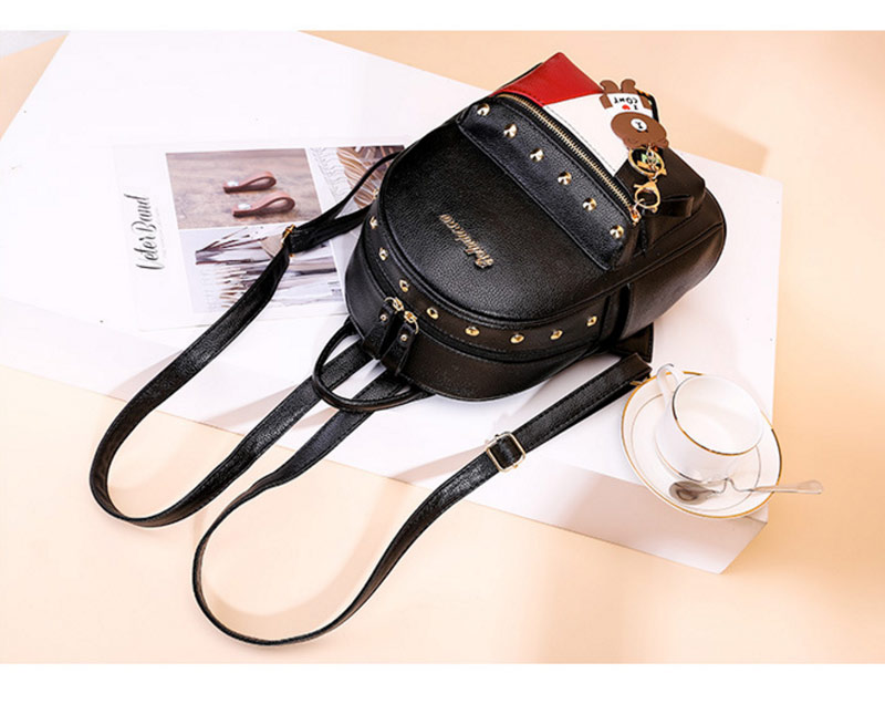 2019 Women Preppy Style Panelled Color Print Backpack Black Studded PU Faux Leather School Bag Small Fashion Rivet Travel Pack (32)