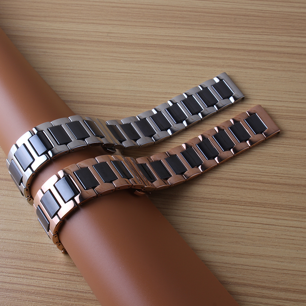 HIGH Quality Ceramic + Stainless Steel Watchband Watch straps Universal Strap Butterfly Buckle Bracelet 14mm 16mm 18mm 20mm 22mm поиск семена горчица ядреная 1 г