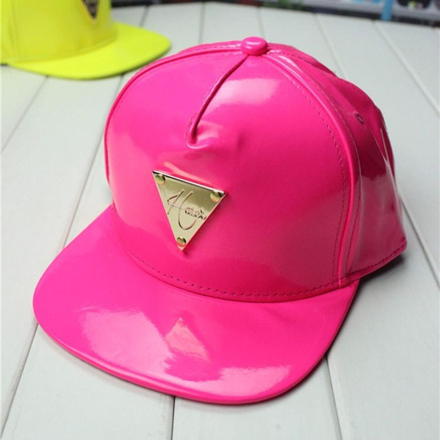 47712f70 Fashion multicolour leather PU swag snapback caps fluorescence color baseball  cap with metal triangle logo hats for men & women