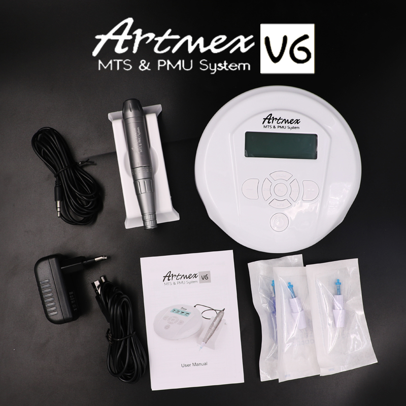 Hhigh quality Permanent Makeup machine Artmex V6 eyebrow Lip Rotary Pen V6 Tattoo Machine MTS PMU System with 20pc tattoo needle makeup tattoo derma machine pen kit eyebrow lip permanent makeup microneedles for skin management mts system therapy gun supply