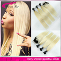 """Ombre Closure With Bundles Peruvian Blonde Black Roots Extensions 1b/613 Straight 3PCS With Lace Closure 8""""-30"""" Free Shipping"""