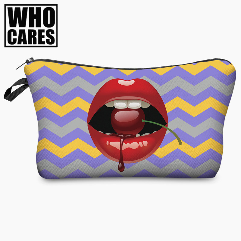 Red Lips 3D Printing Strawberry Cosmetic Bag Women Makeup Bag 2017 Who Cares Cosmetic Cases Travel Trousse De Maquillage Neceser 35000r import permanent makeup machine best tattoo makeup eyebrow lips machine pen