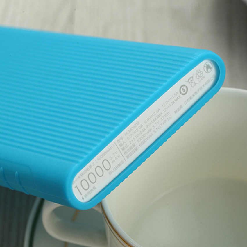 Para Xiaomi Power Bank 2 10000 mAh silicona suave protector antideslizante cubierta de batería externa rosca de rosca colorful la piel