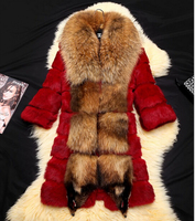 Natural Fur Coats Jackets Women Real Genuine Rabbit Fur Raccoon Fur Outerwear Women Plus Size 6XL Furs Coats