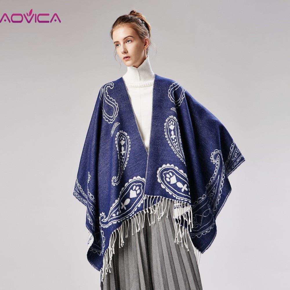 Aovica Women Clothing Sweaters Oversized Sweater Cardigan 2018 Catwalk Street Snap Knitted Cardigan Cape Poncho Shawl Women Lady cardigan
