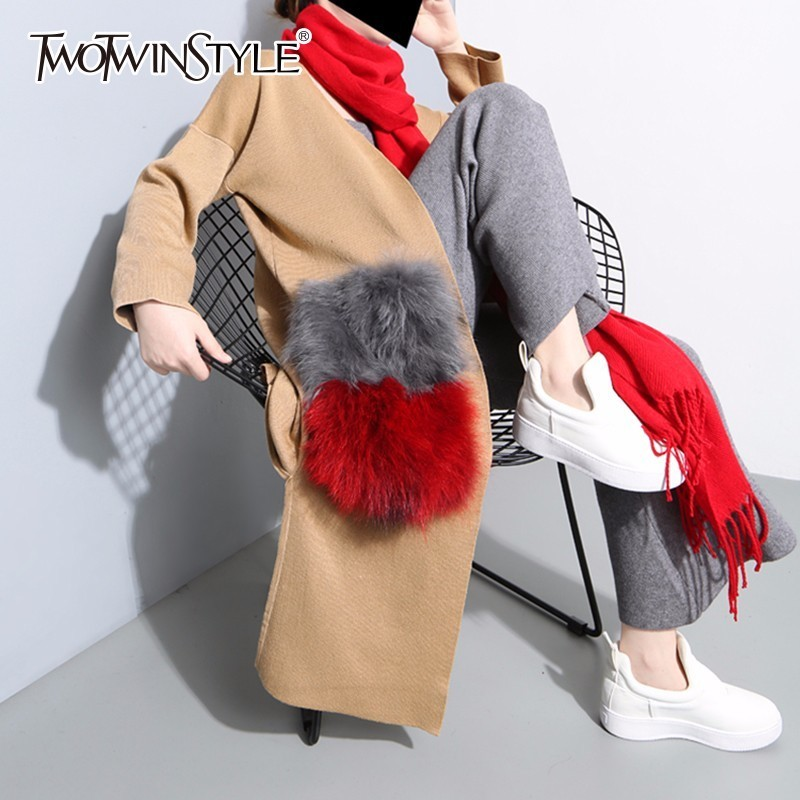 TWOTWINSTYLE Patchwork Natural Fur Pockets Long Cardigan Trench Coat For Women Knitted Cardigan Autumn Fashion Clothing