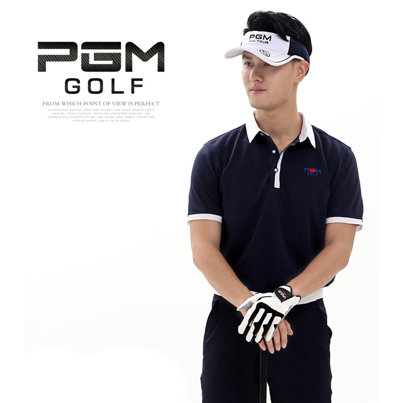 New PGM Brand High Quality Outdoor Polo Short Golf Shirt Men Quick Dry T-shirts Collar Cotton Golf Short Sleeve Shirts 3 Colors