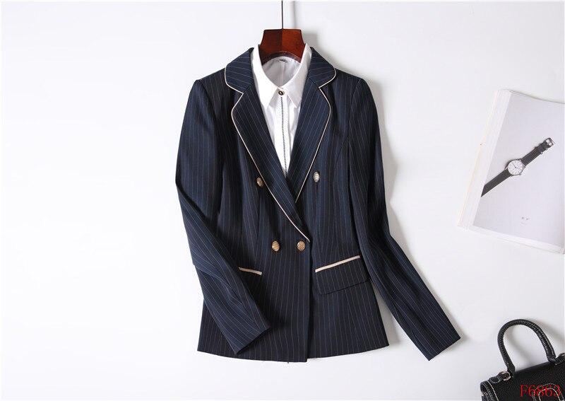Rayé D'affaires Bureau marine Dames Ensembles Work Noir Mode Wear Uniforme Pour Costumes Jupe Styles Les Noir Blazer Veste Et Bleu Femmes De n0FaSz