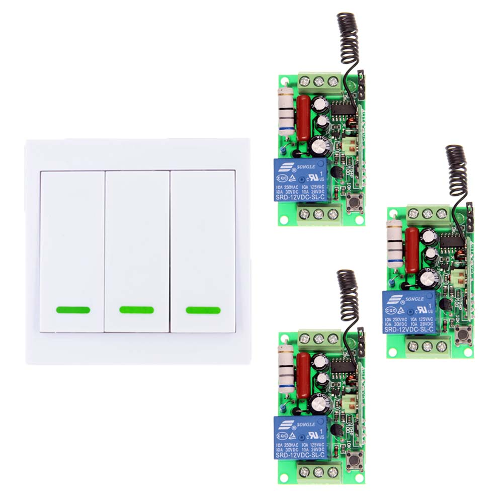 86 3CH Wall Panel Transmitter AC 220V 110V 1 CH 1CH RF Wireless Remote Control Switch System,Toggle 315 433.92 MHZ 220v 1 ch 1ch rf wireless remote control switch system for led bulb light strips mini receiver 3ch 86 wall transmitter