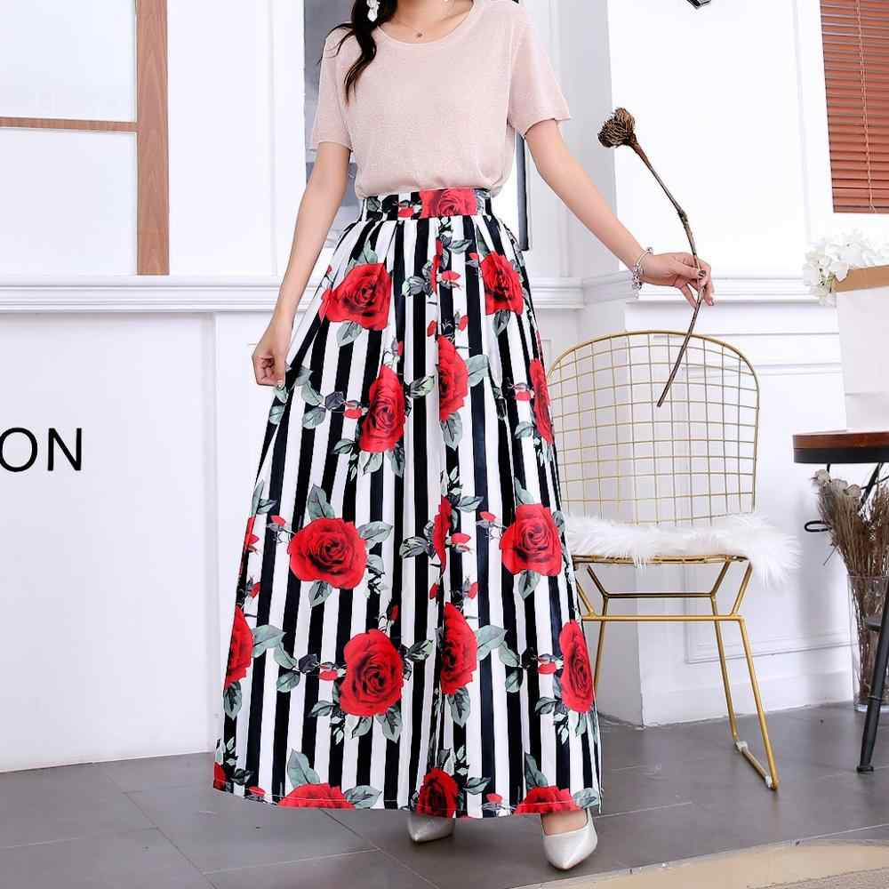 4282cf2212 ... Summer Skirts Womens 2019 Jupe Longue Femme High Waisted Pocket Long  Skirt Vintage Floral Striped Maxi ...