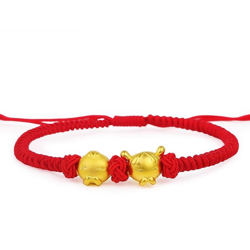 """Perfect Real 24k สีเหลืองทองผู้หญิงน่ารักสาวสีแดงถักสร้อยข้อมือ 6.7 """"L-ใน สร้อยข้อมือและกำไล จาก อัญมณีและเครื่องประดับ บน   1"""
